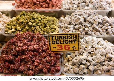 Turkish delight on Spice (Egyptian) Bazaar and Grand bazaar Istanbul, Turkey - stock photo