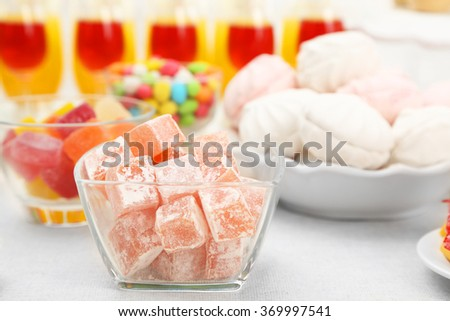 Turkish delight, zephyr and beverages, closeup - stock photo