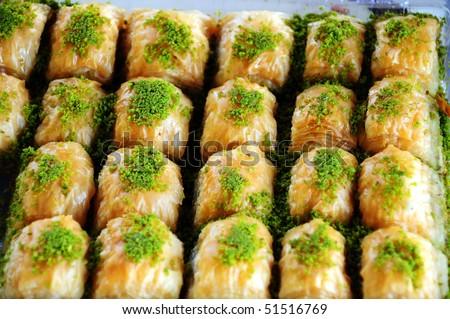 Turkish dessert, baklava - stock photo