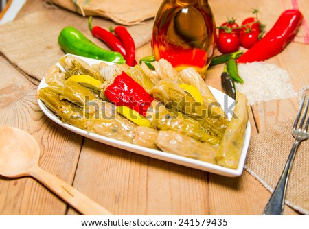 Turkish dolma, White cabbage and rice over wooden background