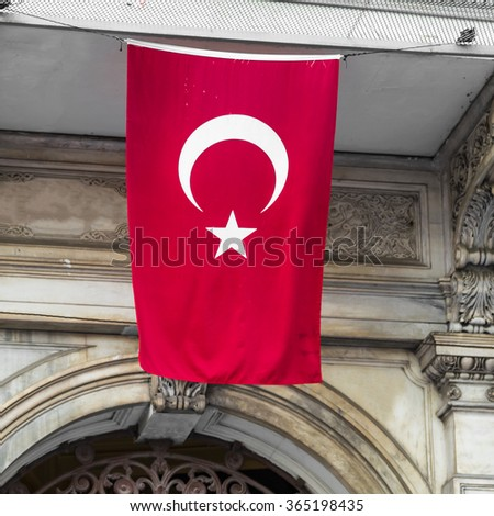 Turkish flag in Istanbul - stock photo