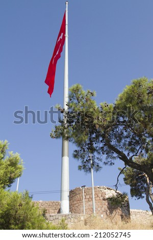 Turkish flag in the fortress in Izmir - stock photo