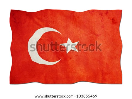 Turkish Flag made of Paper - stock photo