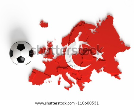 Turkish flag on European map with national borders, isolated on white background