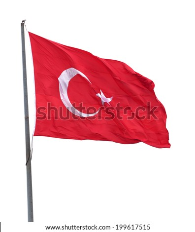 Turkish flag on flagpole waving in wind. Isolated on white background. - stock photo