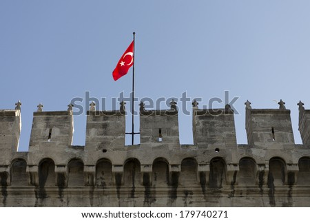 Turkish Flag over the Topkapi Palace Gate in Istanbul, Turkey