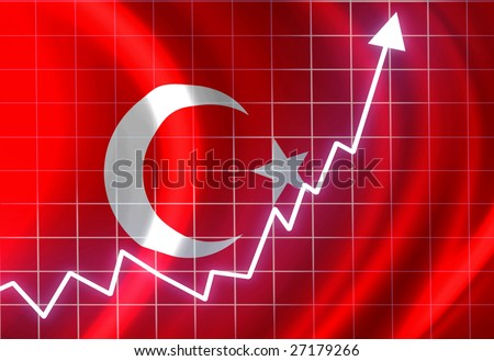 Turkish flag waving in the wind: growth - stock photo
