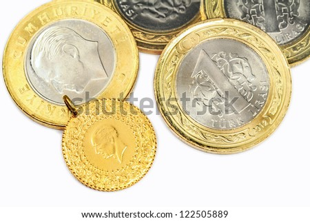 Turkish Gold Coin. 1/4 Cumhuriyet, isolated on white background - stock photo