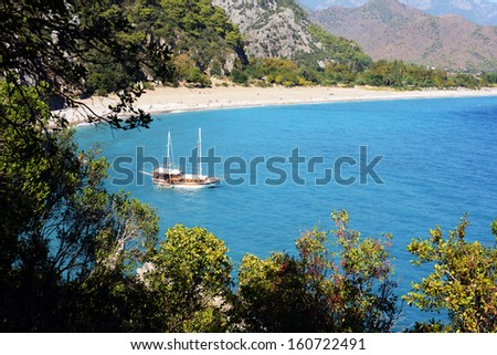 Turkish gulet at the coast - stock photo