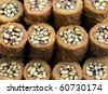 Turkish kadayif baklava sweet made with honey and pistachio nuts - stock photo