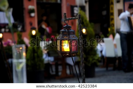 Turkish lanterns on the streets of Istanbul, Turkey - stock photo
