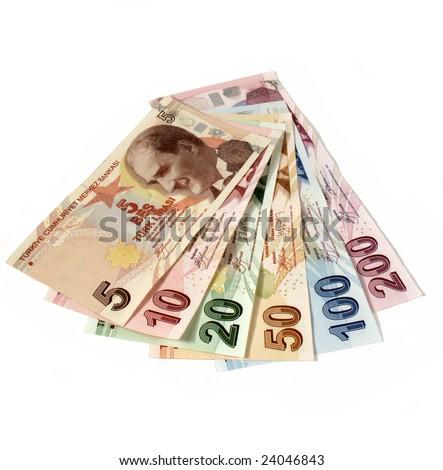 turkish lira banknotes - stock photo