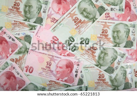 turkish lira banknotes background wallpaper - stock photo