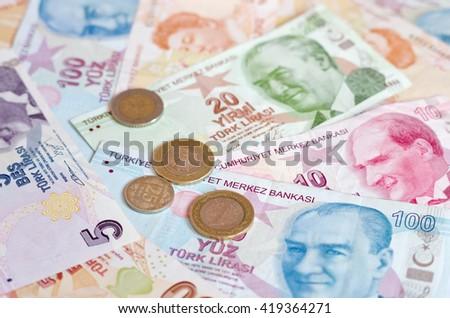 Turkish lira banknotes. close up money background - stock photo