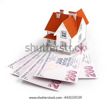 Turkish lira banknotes under house. 3d rendering. - stock photo