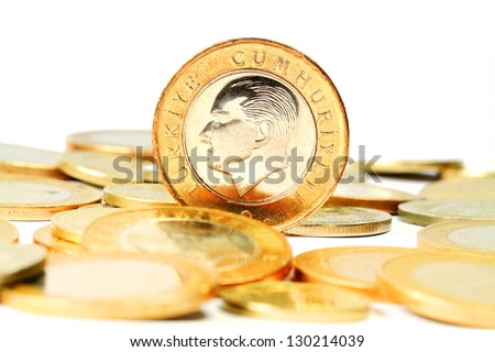 Turkish Lira coin. Isolated on white background - stock photo