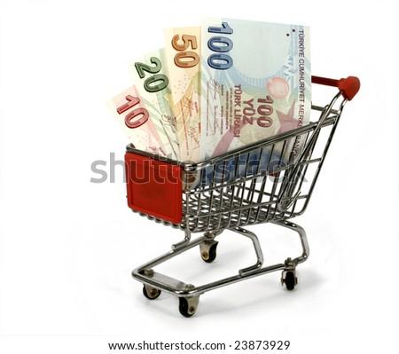 turkish lira in shopping trolley - stock photo