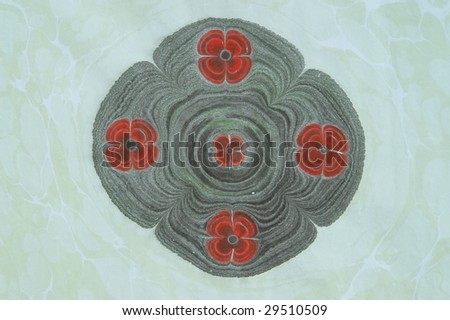 Turkish marbled paper artwork - stock photo