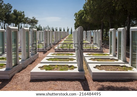 Turkish Military Cemetery in Gallipoli Peninsula,Canakkale , Turkey - stock photo