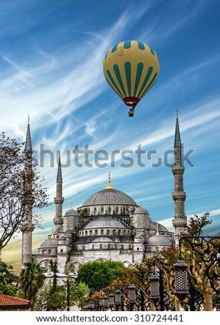 Turkish mosque  Istanbul, Turkey. Blue mosque Sultanahmet - stock photo