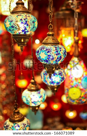 Turkish multicolor lamps in the Grand Bazaar , Istanbul - stock photo