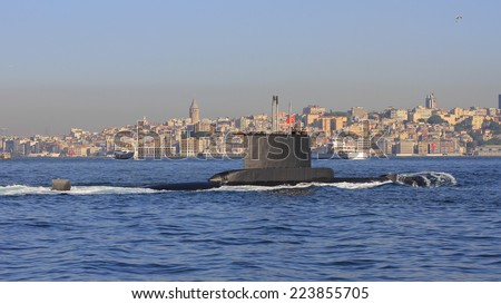 Turkish Navy Submarine sailing past Istanbul Harbor