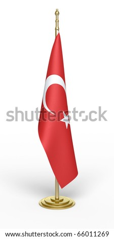 turkish office flag (clipping path)