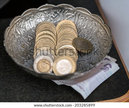 Turkish paper money and coins - stock photo
