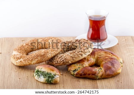 Turkish Pastry Foods on a Wooden Table - stock photo