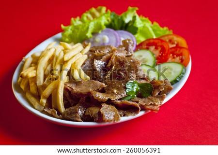 Turkish plate kebab - stock photo