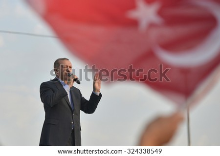 Turkish President Recep Tayyip Erdogan speaks at peace rally held in Istanbul, 20 September 2015 , Turkey , Istanbul. - stock photo