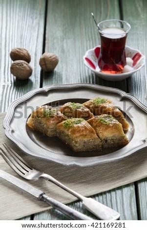 turkish ramadan dessert baklava with concept background - stock photo