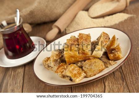 Turkish style meat stuffed filo dough borek served kol boregi