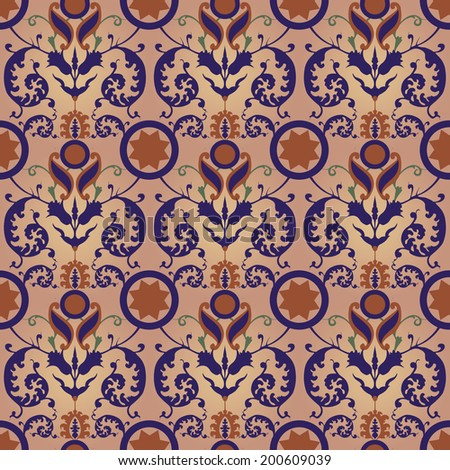 Turkish style tiles. Inspired by visiting Topkapi Sarayi (Topkapi palace) in Istanbul. Seamless wallpaper. JPEG render of a vector.