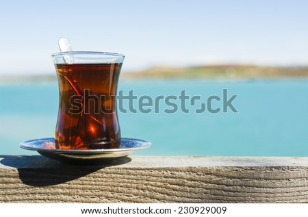 Turkish Tea and glass - stock photo
