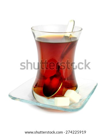 Turkish tea in traditional glass isolated on white background. - stock photo