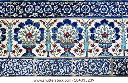 Turkish tile design in Topkapi Palace, Istanbul, Turkey  - stock photo