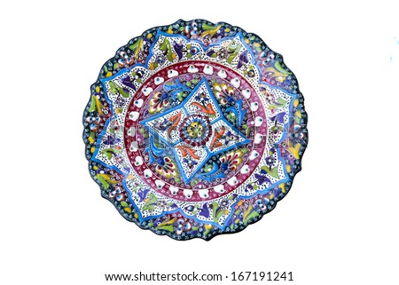 Turkish tile plate - isolated - stock photo