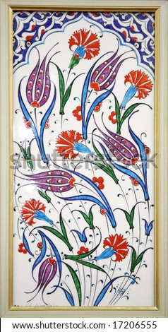 Turkish Tiles (floral red, blue and green ornament) - stock photo