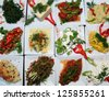 Turkish traditional appetizer food on the restaurant table in Istanbul, Turkey. - stock photo