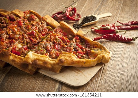 Turkish traditional beef Pide - stock photo