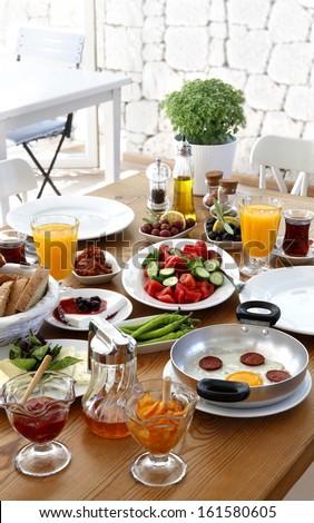 turkish traditional breakfast - stock photo