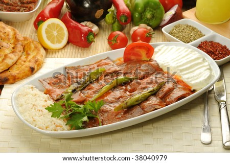 Turkish traditional iskender kebap