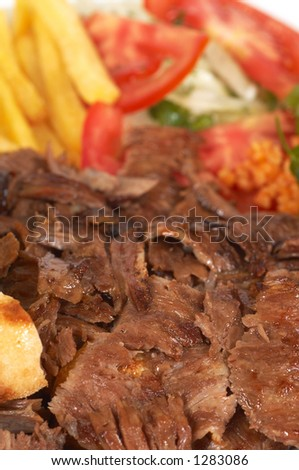 """turkish traditional meal """"doner"""" shallow dof - stock photo"""
