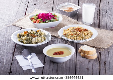 Turkish Traditional Ramadan Table ready for Iftar - stock photo