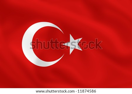 Turkish waving flag - stock photo