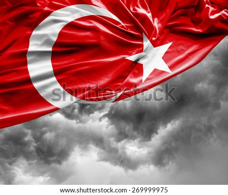 Turkish waving flag on a bad day - stock photo