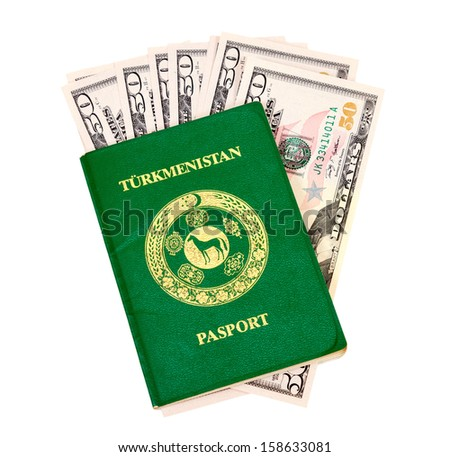 Turkmenistan passport and money isolated on white background