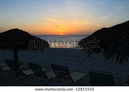 Turks and Caicos sunset - stock photo