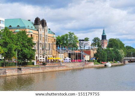 Turku, Finland. Embankment of the river Aura on a summer day